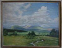 Dipinto a Olio ° Paesaggio Montagne Gebirge Panorama Bach ° Impressionismo Antik