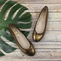 Elia B Anthropologie Ballet Flats Size 39 8.5 Bronze Gold Leather Bows Metallic
