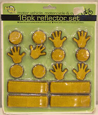 BIKING MAD 16 PIECE REFLECTOR SET FOR MOTOR VEHICLES, MOTORCYCLES, & BIKES NEW