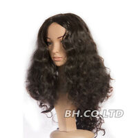 Womens Black Long Wavy Curly Wigs Synthetic Full Wig Cosplay Heat Resistant Hair