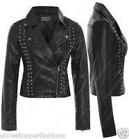 Size 8 10 12 14 NEW Womens BIKER STUD JACKET FAUX LEATHER Ladies ZIP Coat Black