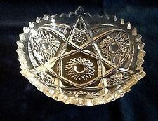 Vtg Pressed Glass Dish - Starburst Pattern - Triangle Shape - Excellent Cond.