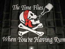 Hot  Jolly Roger Pirate TIME FLIES WHEN YOUR HAVING RUM FLAG 3'x5' Banner