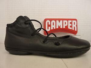 Camper K400194 011 Right Nina Black Leather Elastic Lace Pump Flat Shoe