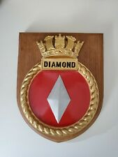 More details for hms diamond royal navy ship crest stunning quality wall mounted plaque