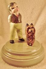 Dog Figurine Silky Terrier On Base w/ Boy Pottery 1950's One Of A Kind Adorable