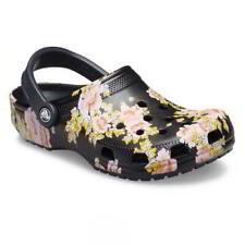 Crocs Classic Printed Floral Clog Womens Ladies Black Vegan Mules Shoes Size 4-8