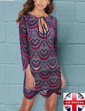 Ladies Purple Mesh Lace Bodycon Dress Party Club Summer Wear UK 12-14