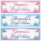 2 PERSONALISED BABY SHOWER BANNERS 3ft x 1ft - BOY, GIRL, UNISEX - PINK OR BLUE
