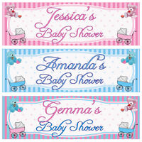 2 PERSONALISED BABY SHOWER BANNERS - BOY, GIRL, UNISEX - PINK OR BLUE