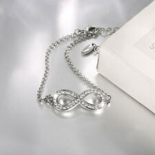 Classic 18K White Gold Filled Clear Crystal Infinite Charm Bracelet Party