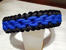 """Sanctified Chainmail Endless Falls Paracord BLK/GRY/BLUE Dog Collar 15""""-22"""""""