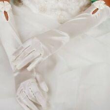 C-160 White. One size satin elbow Gloves
