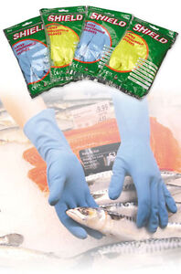 3x Pairs Shield Medium Weight Household Lined Rubber Gloves Size X Large & Large