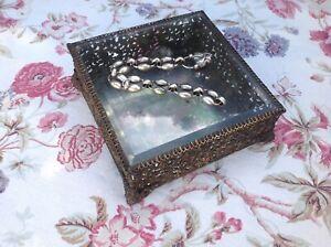 Antique Vintage, French Ormolu Filigree Glass Trinket Jewellery Casket Box