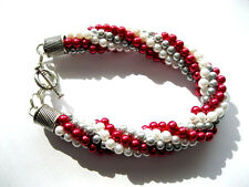 1 Bracelet with Red, White & Gray Beads   MadeMade with Kumihimo