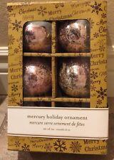 "Pink MERCURY Crackle Glass Christmas Ornaments 3"" Kugel Set Of 6"