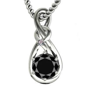 1.58 Ct Black Color Moissanite & Raw White Natural Diamond 925 Silver Pendant