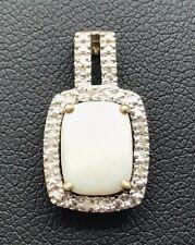 Sterling 925 Gold Tone Rectangle White Opal CZ Halo Split Bail Tarnished Pendant