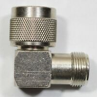 Amphenol Right Angle Elbow Coaxial RF Adapter N-Male to N-Female Gold Contacts