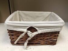 LARGE Woven Wood Wicker storage Toy Laundry Basket Espresso Ivory Liner 18x13x9