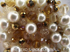 Glass Bead Mix / Bracelet Making Kit - Gold & Ivory -  Cherub