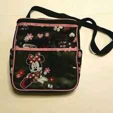 Disney Baby Minnie Mouse Sayings Black Pink Adjustable Shoulder Bag Euc