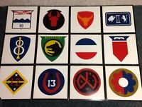 "Vtg Lot 12 US Army Division Insignia Hand Painted Enamel on Wood Signs 12""x12"""