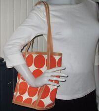 MX canvas SUPER CUTE orange polka dot tote purse bag handbag VGUC