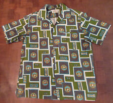 Beautiful vtg 1970s Malihini Hawaiian crest GVH print Hawaiian-made shirt LARGE