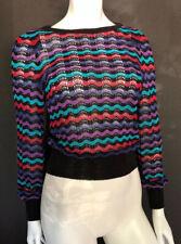 Vintage Castleberry London I Magnin 1970s Disco Sweater, Chevron, Metallic Sz S