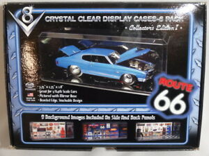 Route 66 Crystal Clear Display Cases 6 Pack for 1/64 Scale Cars Mirror Base
