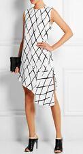 NWT Balenciaga Asymmetric printed crepe dress Size 40 8 6 $1325 White Black