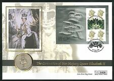 2000 - Coronation of Queen Elizabeth Coin Cover - Crown & Westminister Abbey Pmk