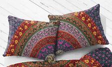 Set of 2 Indian 18X28 Pillow Cushion Cover Cotton Handmade Mandala Multicolor 6