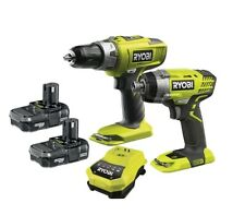 Ryobi One+ Combi Drill & Impact Driver Twin Pack 2 x Li-Ion Batteries & Charger