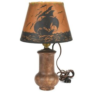 Arts & Crafts Roseville Pottery Blended Lamp w/Galleon Ship Parchment Shade 1917