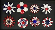 Lot Of 8 Retro Vintage 60s Red White Blue Metal Enamel Flower Power Brooch Pins