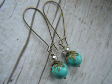 Turquoise Drop/Dangle Round Costume Earrings