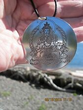 "2"" ETCHED TIBETAN BUDDHIST BELOVED WHITE TARA PENDANT WITH LEATHER NECKLACE NEW"