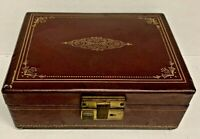 Vintage Swiss THORENS Brown Burgundy Leather Jewelry Music Box Plays Star Dust
