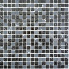 Glasmosaik Stein grau schwarz Wand Boden Küche Dusche Bad Sauna|58-0203 10Matten