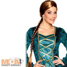 Long Brown Plait Braid Wig Ladies Fancy Dress Medieval Adults Costume Accessory