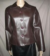 Vintage 1990s Brown PVC Leatherette Front Button jacket Made USA JUNIORS M Med