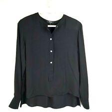 Theory MED Isalva 100% Silk Black Blouse Long Sleeve $295 Classic Hi Low Shirt