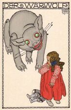 Postcard: Vintage print Repro - Art Nouveau Werewolf and Little Girl