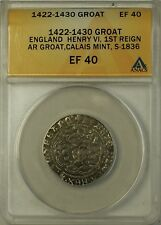 (1422-30) England Silver Groat Fourpence 4P Coin S-1836 Henry VI ANACS EF-40