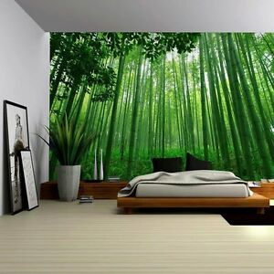 Close Up View into a Pure Green Bamboo Forest - Wall Mural - 100x144 inches