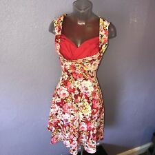 LINDY BOP 'Ophelia' Red White Floral Spring Garden Party Picnic Dress XS