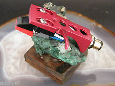 ♫ CELL WITH DIAMOND MOUNTED ON TURNTABLE HEADSHELL RED FIX NEW GOLD ♫